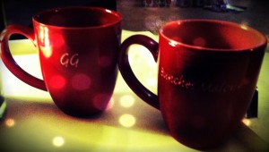"Our ""matching"" Pet name mugs filled with steaming cider. GG & Bunches Malone :)"